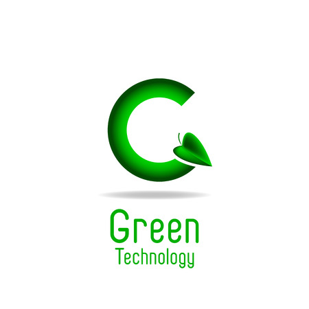 Green letter G and leaf, eco technology logo, mockup ecology poster Vector