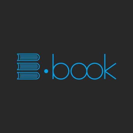 e business: E-book logo, abstract letter E of books, mockup shop sign