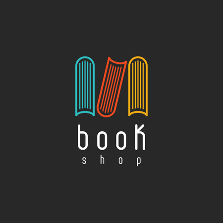 education icons: Book shop logo, mockup of sign literature store, design library icon Illustration
