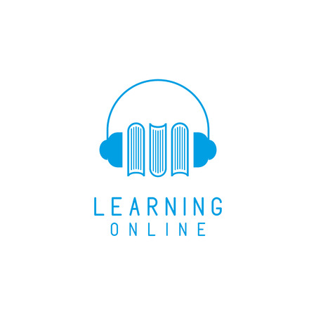 language learning: Online language learning logo, speaking and books, concept  network education