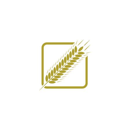 oat field: Ear of wheat, farm logo, bread concept sign