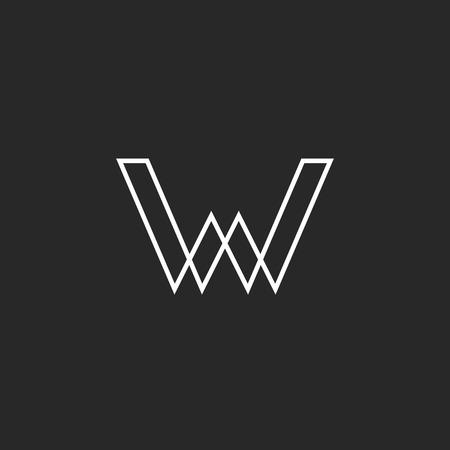 W brief logo, geometrische lijn illusie, mockup uithangbord