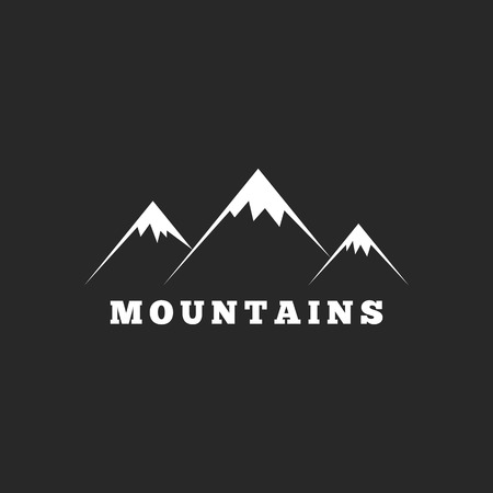 Mountains logo, travel or tourism icon, black and white graphic Vector