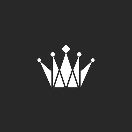 Crown black and white logo, royal symbol Vettoriali