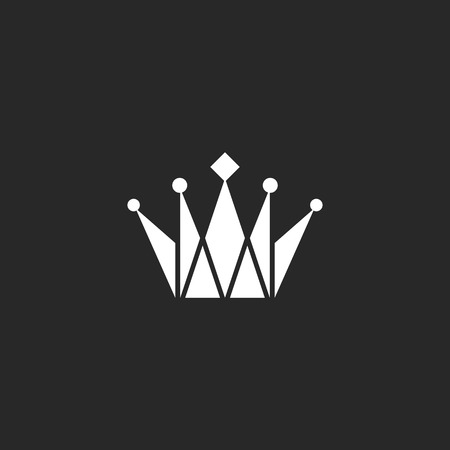 jewelry design: Crown black and white logo, royal symbol Illustration