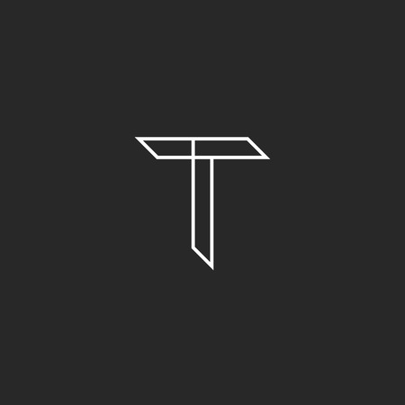 T letter mockup logo in thin lines, graphic design