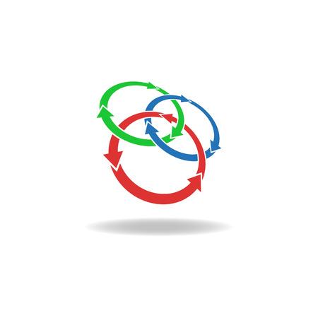 bucle: Círculos tthree flechas bucle Vectores