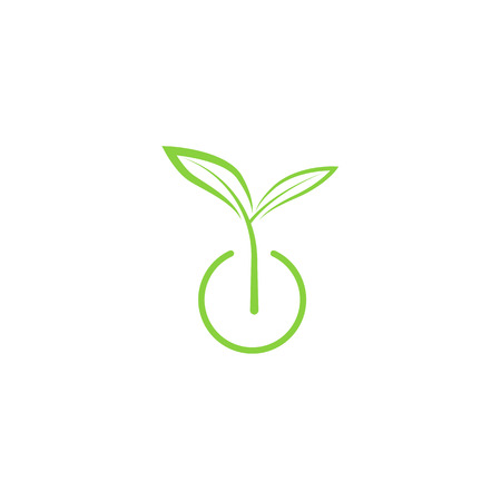 Sprout mockup eco logo, green leaf seedling, growing plant Çizim