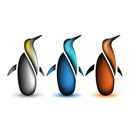 pinguin: Penguin collection animal icon, set of wild bird Illustration