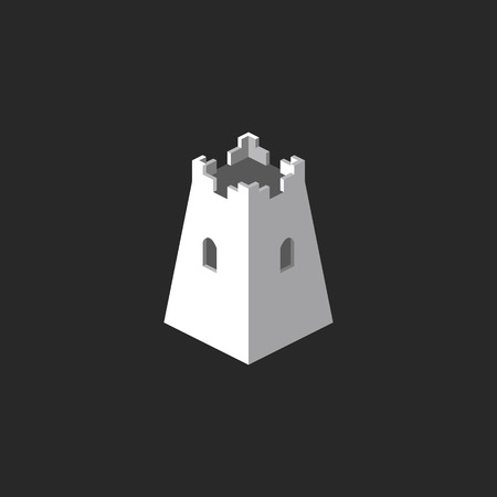 Tower abstract 3D , mockup castle icon, business card symbol template