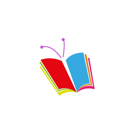 colored school: Book icon in the form of butterfly, a symbol of education or  school library