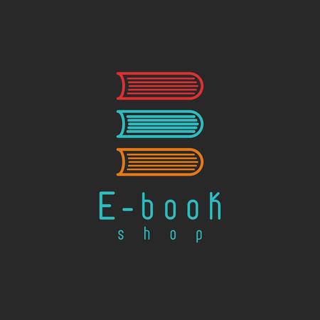 libros: E-book icono maqueta, educación internet o icono de aprendizaje, símbolo de libros en línea