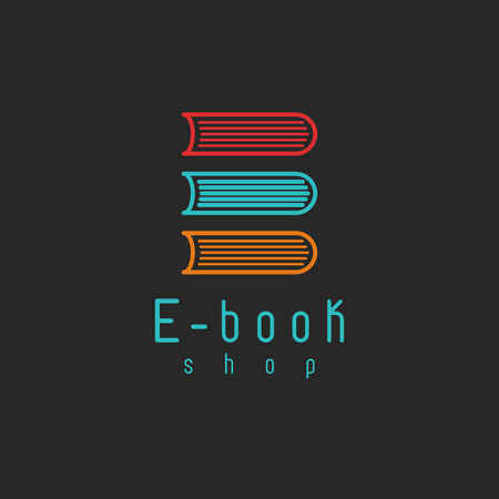 E-book mockup icon, internet education or learning icon, online book symbol 版權商用圖片