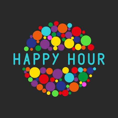 Happy hour party poster, colorful bubbles of free cocktail drink Stockfoto