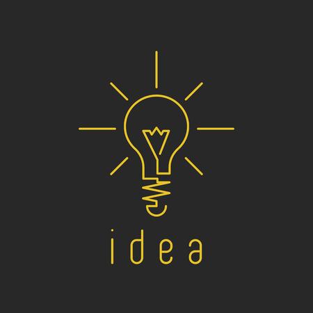 lamp power: Lamp light mockup yellow business logo, fresh innovation idea icon