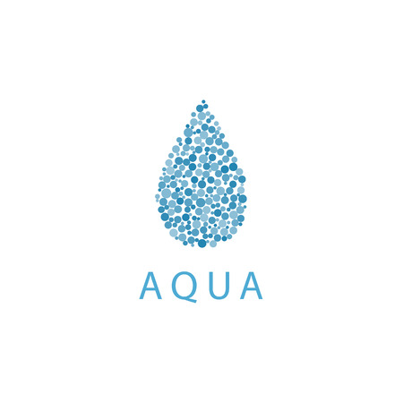 fresh idea: Water drop mockup, small vibrant blue bubbles, fresh idea eco icon Stock Photo