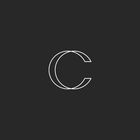Monogram illusion letter C  , design element for business card Stock Illustratie