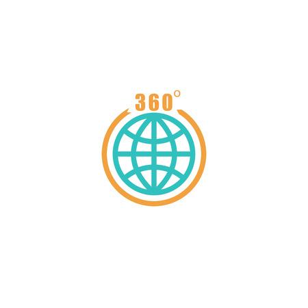 globe arrow: Travel circle mockup  , globe arrow with 360 degrees, tourism icon