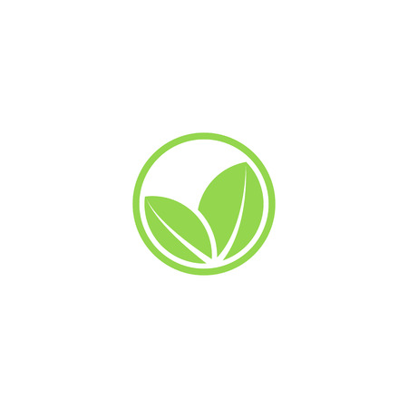 Circle mockup eco  , green leafs of plant, organic creative icon
