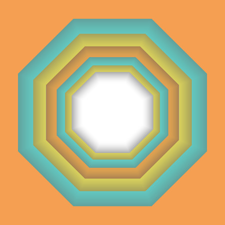 octagon: Abstract colorful 3d frame, design geometric illusion octagon background Illustration