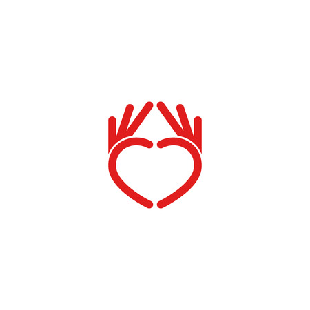 gönüllü: Abstract red heart  from the hands, the mockup icon design for the volunteer, medical, or children is organization Çizim