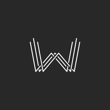 letter w: Modern letter W monogram  , mockup business card emblem