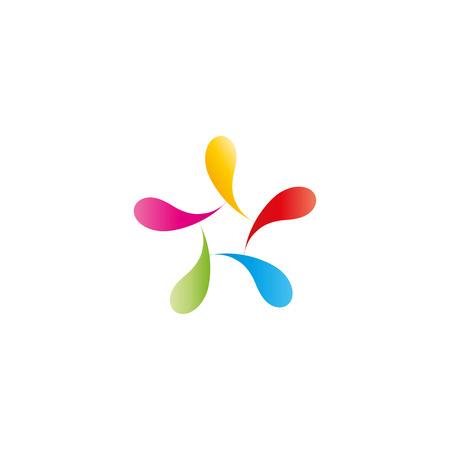 human figure: Resumen logotipo figura de hombre, gotas de colores vibrantes Vectores
