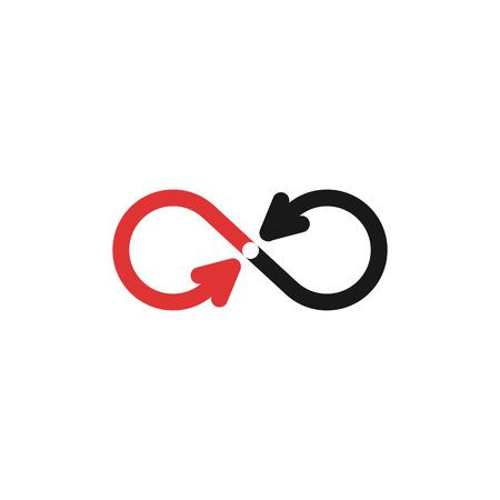 signo infinito: Logo maqueta Infinity, negro y flechas rojas, símbolo de tecnología de reciclaje