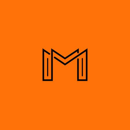 Two letter M monogram style mockup logo, design thin line element for business card Vettoriali