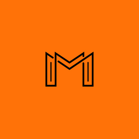 minimal style: Two letter M monogram style mockup logo, design thin line element for business card Illustration
