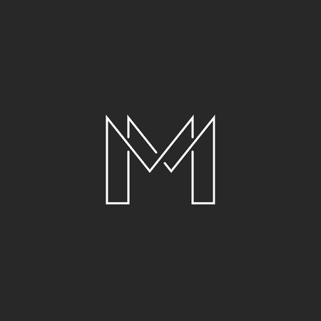 Letra M del monograma insignia línea delgada, diseño moderno para tarjetas de visita Ilustración de vector