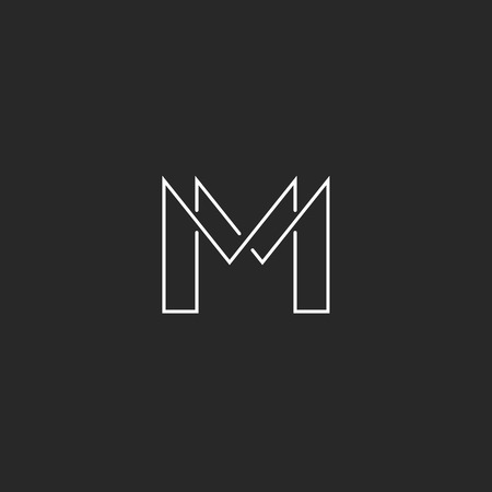 M letter thin line monogram logo, modern design for business card