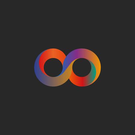 Infinity symbol, geometric shape colorful illusion, mockup tech logo 向量圖像