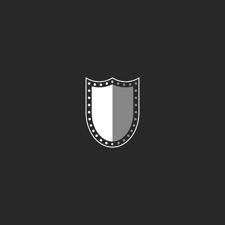 security symbol: Shield logo, black and white symbol, mockup security emblem Illustration