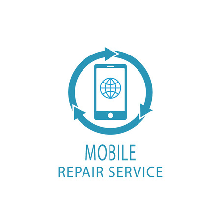 cellular telephone: Repair phone logo, fix service mobile and tablet sign
