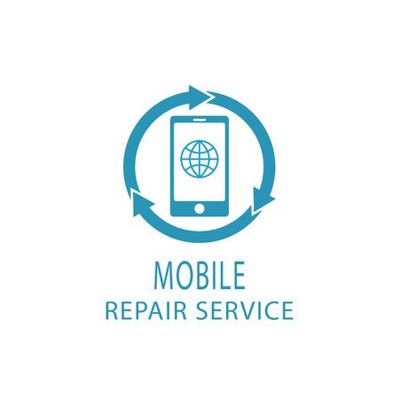 Reparatie telefoon logo, fix dienst mobiel en tablet teken