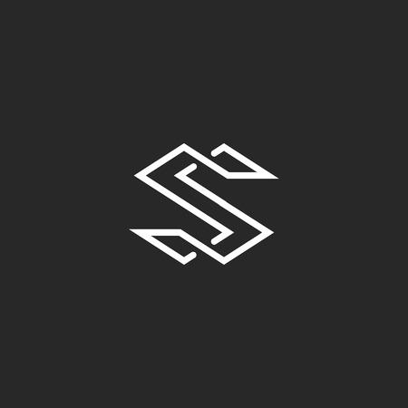 Letter S logo monogram, moderne symbool mockup voor visitekaartjes, overlappende stijl