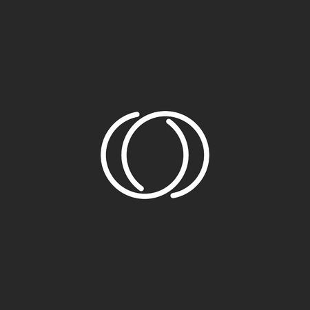 Letter O logo modern monogram symbool, zwart en wit mockup visitekaartje Stock Illustratie