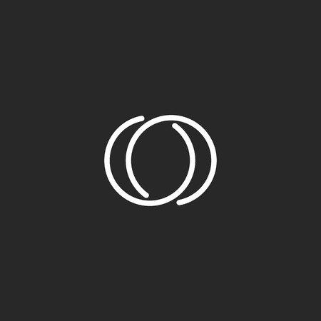 Letter O logo modern monogram symbol, black and white mockup business card