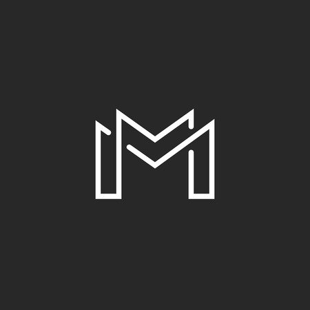 symbol decorative: Letter M logo or two modern monogram symbol, mockup black and white business card