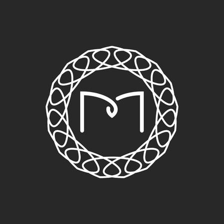Letter M logo monogram frame, mockup for wedding invitation or design of emblem for hotel Stock Illustratie