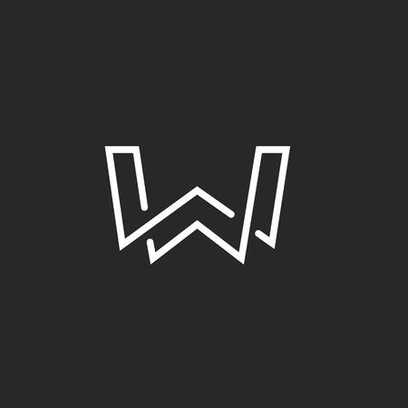 W letter logo monogram, modern mockup black and white hipster  emblem