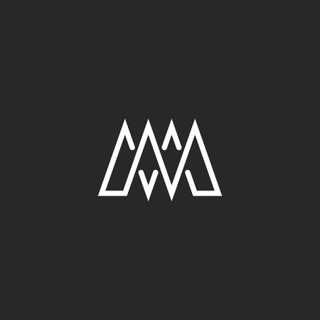 M letter monogram mockup logo