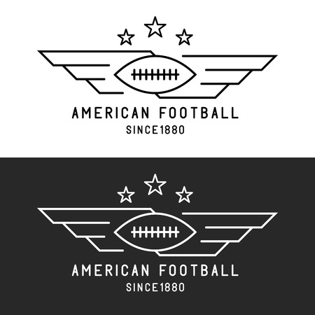 black american: American football ball logo, flying with wings, mockup sport tournament thin line emblem, black and white background Illustration