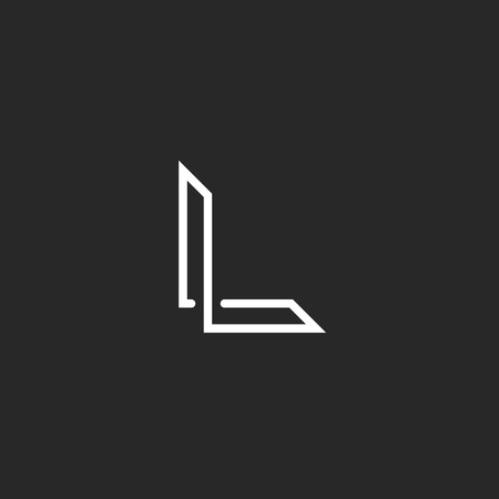 letras negras: Monograma L logotipo carta