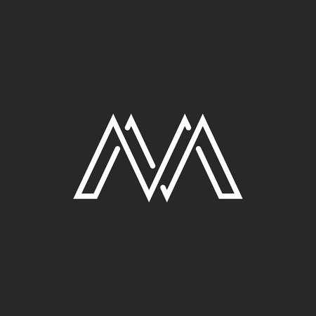 m: M monogram letter, crossing thin line, black and white mockup emblem Illustration