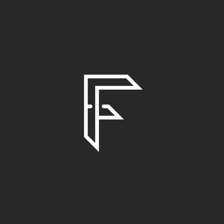 letter f: F, letter outline black and white monogram, modern hipster emblem