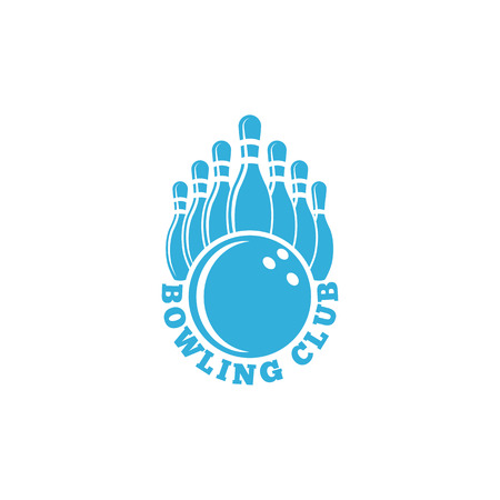 bowling alley: Bowling club. blue sport emblem with ball and ninepins, bowling alley tournament banner Illustration