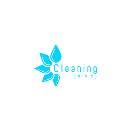 Cleaning service, blue fresh water drops disposition in a circle, clean home icon