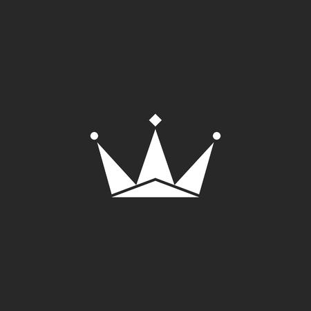 Crown logo, royal black and white symbol, king sign